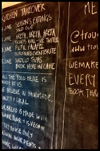 chalkboard showing upcoming supper clubs at Trove Levenshulme