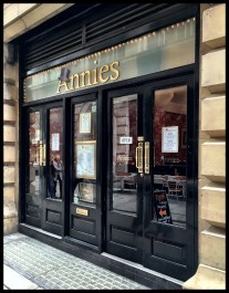 Frontage of Annies tearoom Manchester