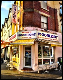 Shop front Moonlight ice cream parlour Curry Mile Manchester