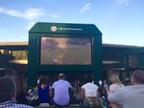 Heather Watson on the big screen on the hill