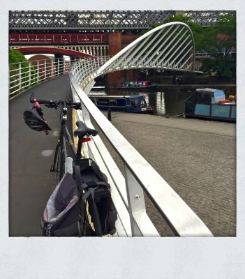 bike on the bridge in Castlefield Manchester