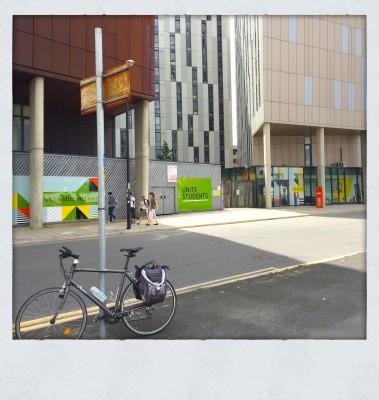 Bike outside interesting student accommodation Manchester