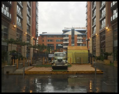 Rusty van in the rain at The Kitchens Manchester