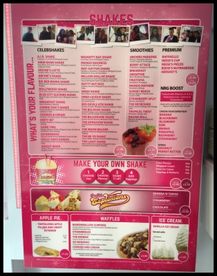Milkshake menu at Archies