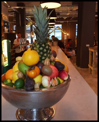 Giant fruit bowl on the bar at Yard and Coop