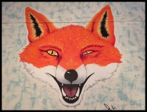 Fox wall mural at Yard and Coop