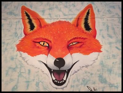 Fox wall mural at Yard and Coop
