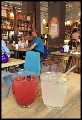 Soft drinks on the table at Yard and Coop
