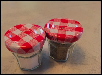 Recycled jam jar salt and pepper pots at Yard and Coop