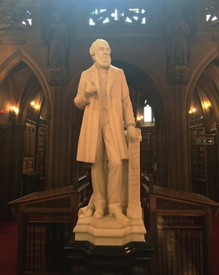 John Rylands statue in marble