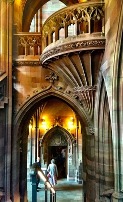 Architectural staircase at John Rylands Library