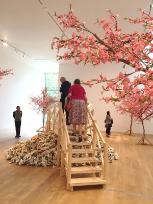 Cherry trees, bridge and wax waterfall at Whitworth Art Gallery