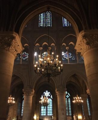 Magical lighting inside Notre Dame, Paris