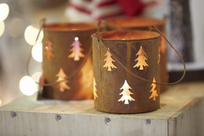 Christmas tree tea light holders, Ideal Home Show at Christmas, Manchester