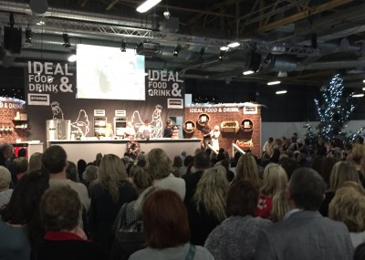 Gino D'Acampo in the Cookery Theatre, Ideal Home Show at Christmas