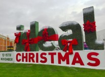 Ideal Home Show at Christmas welcome sign