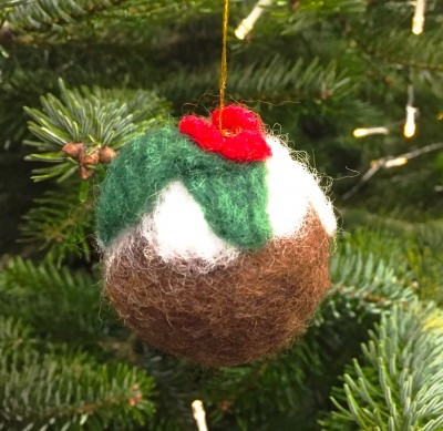 Finished needle felt Christmas pudding bauble, The Handmade Christmas Fair, Manchester