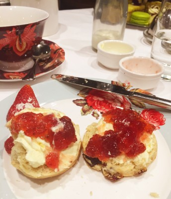 Scones laden with cream and jam, King Street Townhouse, Manchester