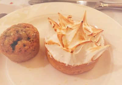 Pistachio cake and Lemon Meringue Pie at the Midland Hotel, Manchester
